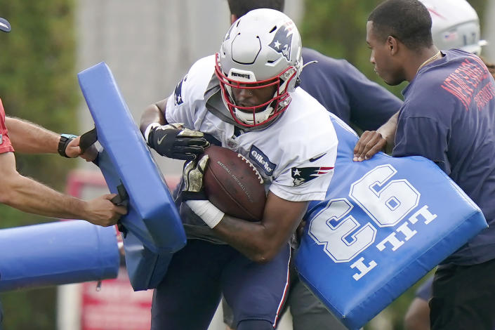 New England Patriots wide receiver Jakobi Meyers works a drill during NFL football practice, Wednesday, Sept. 15, 2021, in Foxborough, Mass. (AP Photo/Steven Senne)
