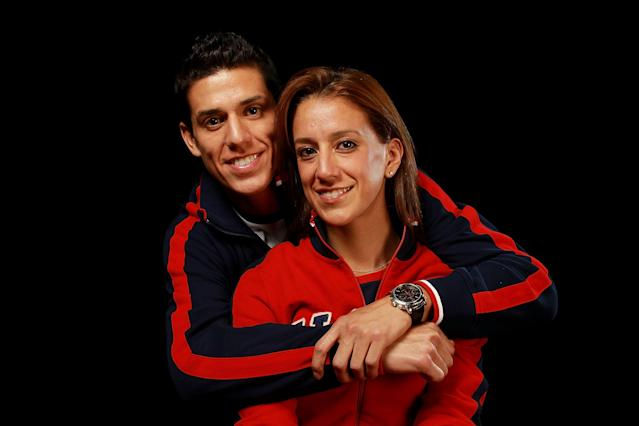 DALLAS, TX - MAY 13: Taekwondo athletes and brother and sister, Diana Lopez and Steven Lopez pose for a portrait during the 2012 Team USA Media Summit on May 13, 2012 in Dallas, Texas. (Photo by Ronald Martinez/Getty Images)