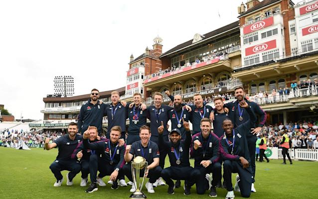 Coming to TV? the victorious England squad at Lord's - AFP