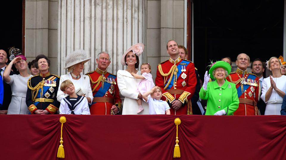 Zara Tindall, Anne, Princess Royal, Camilla, Duchess of Cornwall, Charles, Prince of Wales, Catherine, Duchess of Cambridge, Princess Charlotte of Cambridge, Prince George of Cambridge, Prince William, Duke of Cambridge, Prince Harry, Queen Elizabeth II Prince Philip, Duke of Edinburgh and Sophie, Countess of Wessex watch a fly past during the Trooping the Colour, this year marking the Queen's 90th birthday at The Mall on June 11, 2016 in London, England.