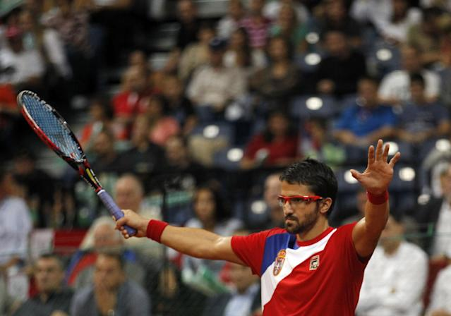 Janko Tipsarevic of Serbia reacts during their Davis Cup semifinal tennis match against Vasek Pospisil of Canada, in Belgrade, Serbia, Sunday, Sept. 15, 2013. (AP Photo/Darko Vojinovic)