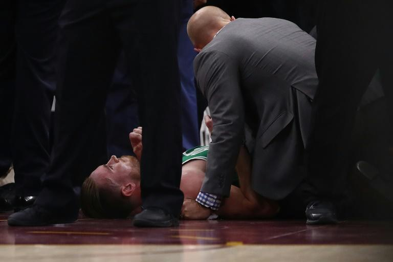 Gordon Hayward of the Boston Celtics suffered a broken ankle while playing the Cleveland Cavaliers, at Quicken Loans Arena in Cleveland, Ohio, on October 17, 2017