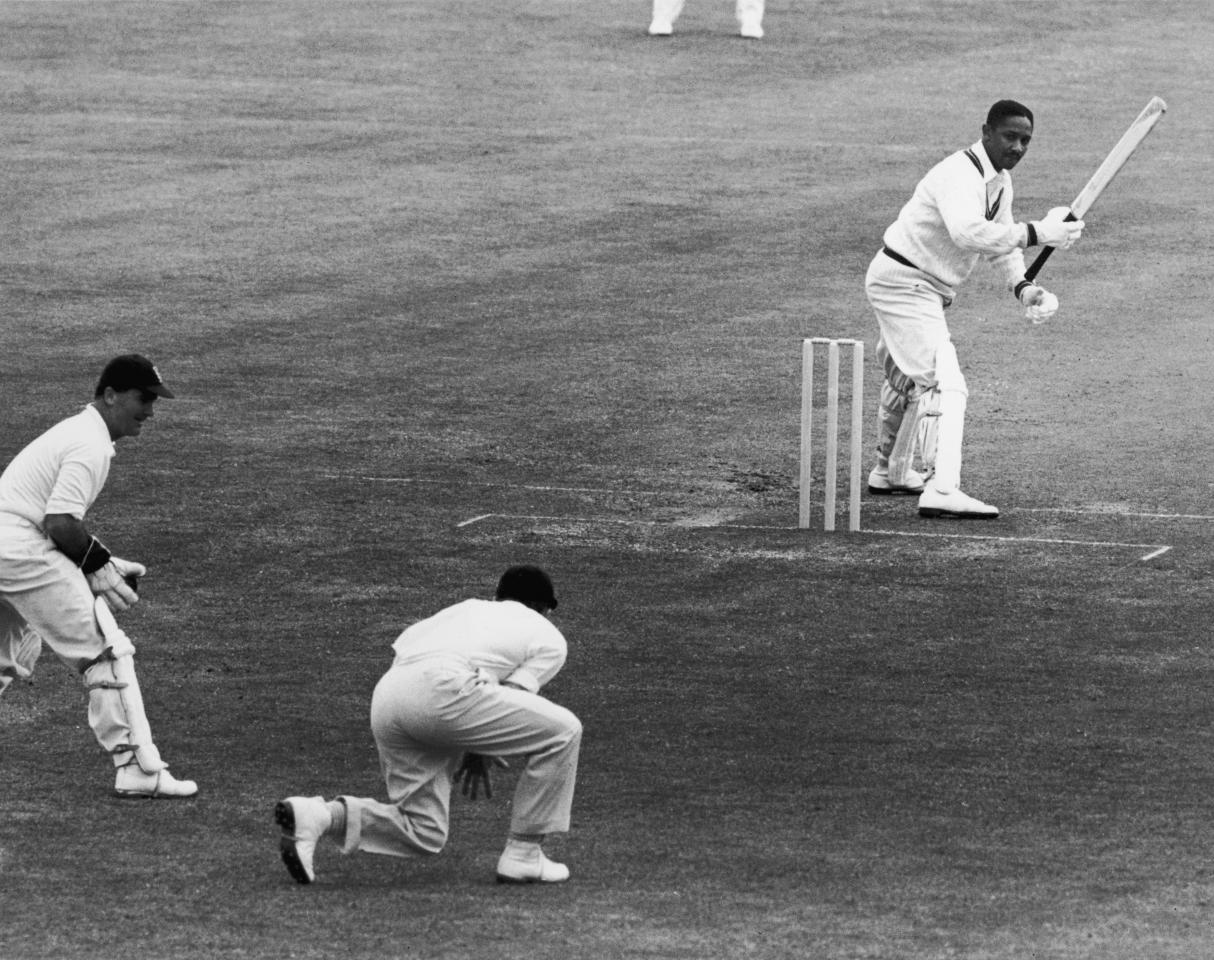 West Indian cricketer Frank Worrell (1924 - 1967) batting during the England v West Indies test match at Birmingham, 1957. (Photo by Central Press/Hulton Archive/Getty Images)