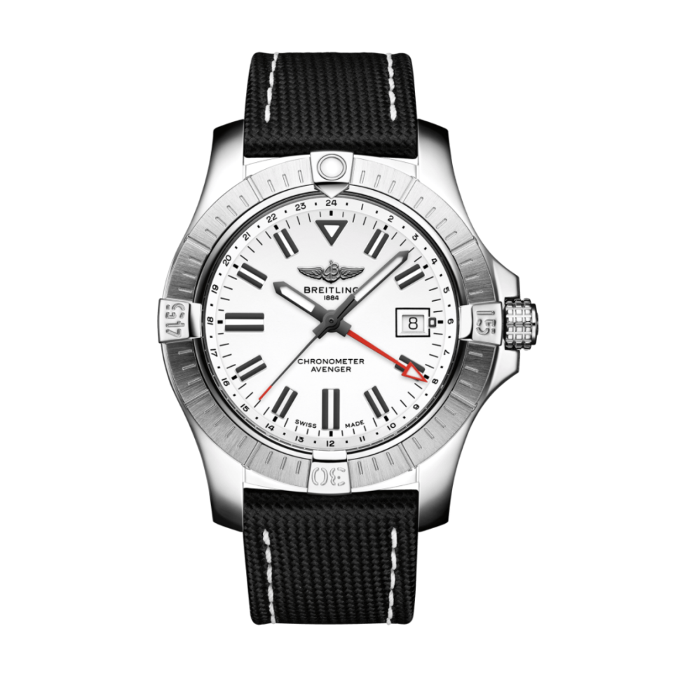 """<p><strong>Avenger</strong></p><p>breitling.com</p><p><strong>$4200.00</strong></p><p><a href=""""https://www.breitling.com/us-en/watches/avenger/avenger-automatic-gmt-43/A32397101A1/"""" rel=""""nofollow noopener"""" target=""""_blank"""" data-ylk=""""slk:Shop Now"""" class=""""link rapid-noclick-resp"""">Shop Now</a></p><p>For the jet set, the Avenger model has a red hand to display a second time zone and can be adjusted while wearing gloves (take that, digital watches). </p><p>Case size: 43mm</p>"""