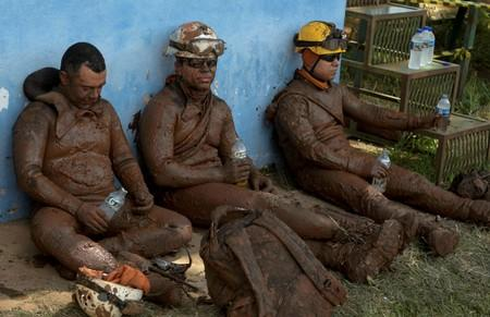 Members of a rescue team react upon returning from the mission, after a tailings dam owned by Brazilian mining company Vale SA collapsed, in Brumadinho