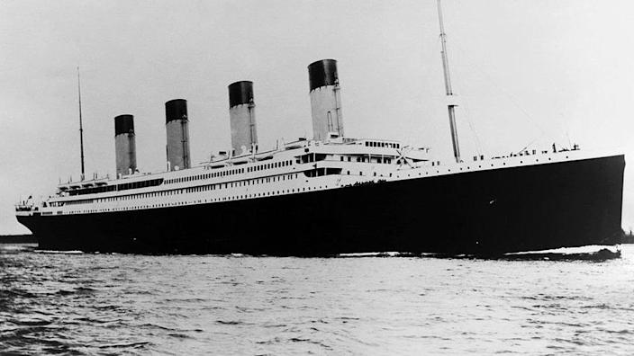 The photo shows the fateful luxury liner, the Titanic, sailing in the ocean.