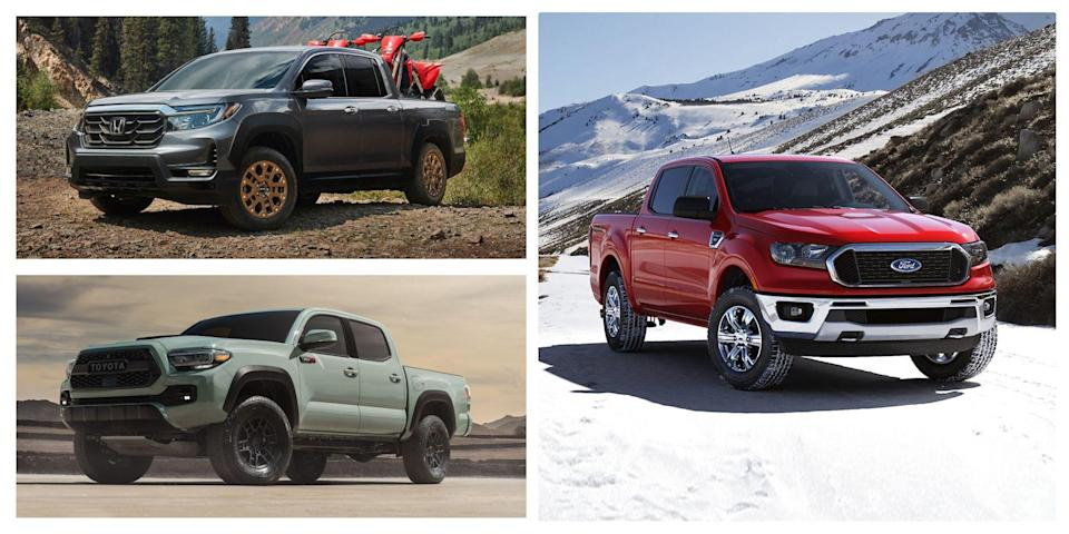 "<p>There's nothing minor league about the mid-size-truck segment. Okay, they lack the size and generally the performance of the <a href=""https://www.caranddriver.com/features/g15379805/best-full-size-pickup-truck/"" rel=""nofollow noopener"" target=""_blank"" data-ylk=""slk:larger, full-size trucks"" class=""link rapid-noclick-resp"">larger, full-size trucks</a>, but although they may fall short in terms of the biggest and fastest, these <a href=""https://www.caranddriver.com/trucks/"" rel=""nofollow noopener"" target=""_blank"" data-ylk=""slk:pickups"" class=""link rapid-noclick-resp"">pickups</a> shine when it comes to utility value. They can afford to offer car-like reflexes on paved roads, with options for bigger tires and winches later, if you need them. What matters the most about this segment is overall usability: the combination of horsepower with decent fuel economy, plus plenty of cargo space and practical towing ability. Here's a roundup of mid-size pickups ranked from lowest to highest:</p>"