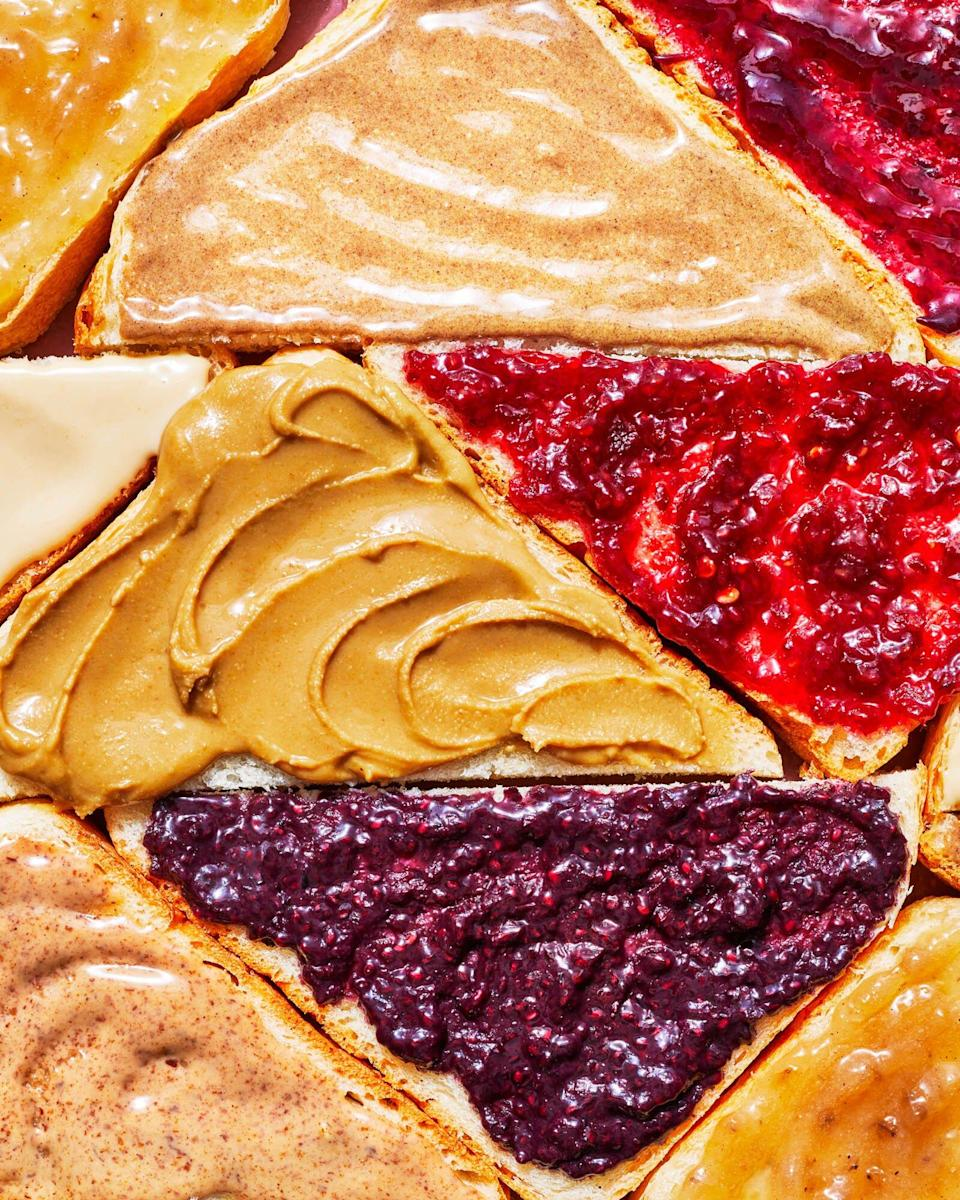 triangles of bread with nut or seed butters and jams or jellies