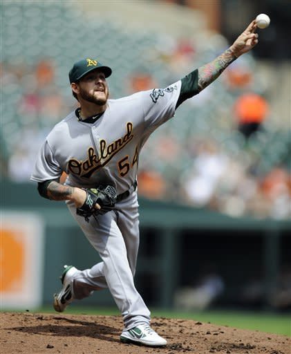 Oakland Athletics starting pitcher Travis Blackley (54) delivers against the Baltimore Orioles during the second inning of a baseball game, Sunday, July 29, 2012, in Baltimore. (AP Photo/Nick Wass)