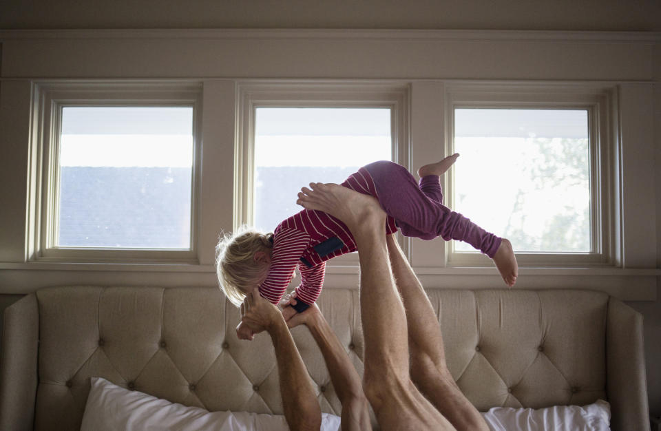 Fathers play tends to involve rough and tumble which could have benefits for children in terms of controlling their feelings. (Getty Images)