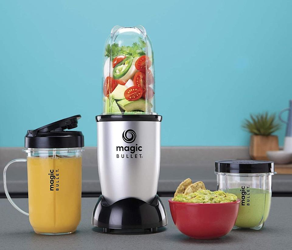 """Youcan count on this to help you recreate the green juice or smoothies you used to pick up on your way to the office.<br /><br /><strong>Promising review:</strong>""""I use this almost every morning. This was my savior during the quarantine part of the pandemic when I was working from home.<strong>I was able to easily make smoothies for breakfast or a snack instead of eating junk.</strong>Blended quickly and easily, easy to clean, and came with so many cups and travel options I was able to continue my healthy habit when I went back to work!"""" —<a href=""""https://www.amazon.com/dp/B012T634SM?tag=huffpost-bfsyndication-20&ascsubtag=5817703%2C14%2C43%2Cd%2C0%2C0%2C0%2C962%3A1%3B901%3A2%3B900%3A2%3B974%3A3%3B975%3A2%3B982%3A2%2C16176007%2C0"""" target=""""_blank"""" rel=""""noopener noreferrer"""">Marissa Vitorio</a><br /><br /><strong>Get it from Amazon for <a href=""""https://www.amazon.com/dp/B012T634SM?tag=huffpost-bfsyndication-20&ascsubtag=5817703%2C14%2C43%2Cd%2C0%2C0%2C0%2C962%3A1%3B901%3A2%3B900%3A2%3B974%3A3%3B975%3A2%3B982%3A2%2C16176007%2C0"""" target=""""_blank"""" rel=""""noopener noreferrer"""">$29.99</a>.</strong>"""