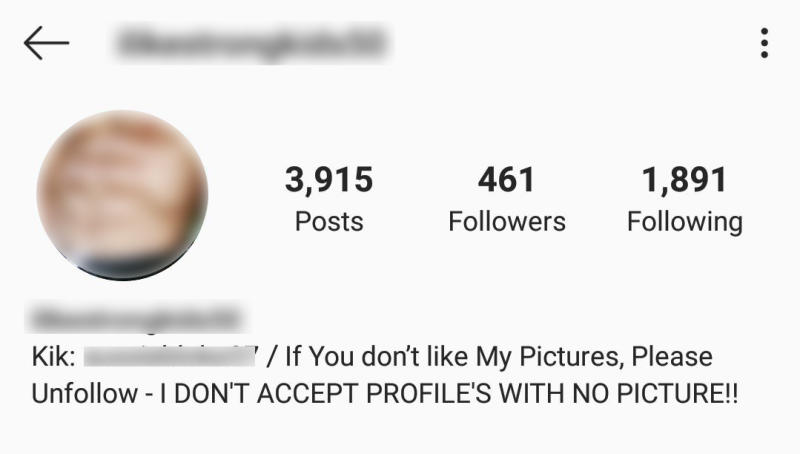 The Instagram account which posts photos of underage boys is followed by mainly older men, according to the mother. Source: Facebook.
