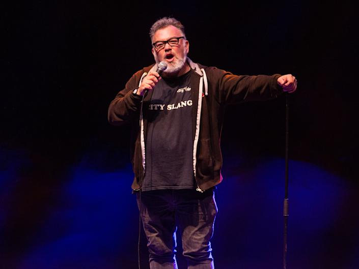 'Comin' over here': Stewart Lee's anti-xenophobic routine has been used as part of a recent protest singleRex Features