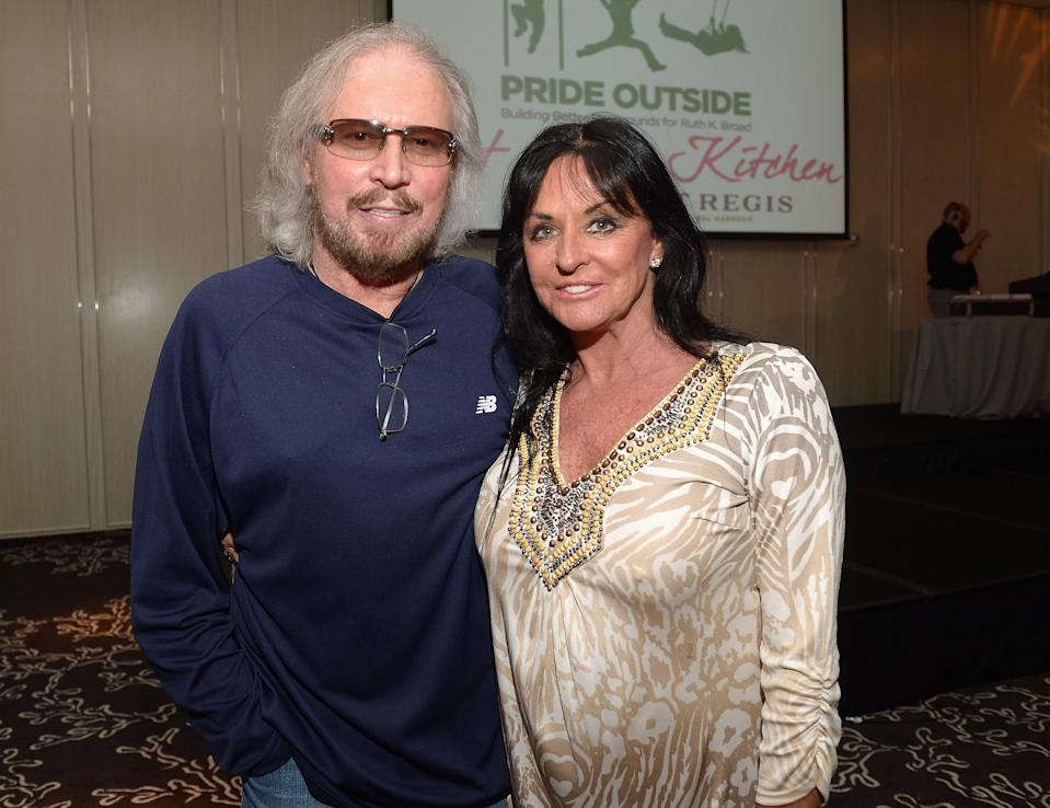 MIAMI BEACH, FL - MAY 02:  Barry Gibb and Linda Gibb attend Celebrity Chefs Support Pride Outside at St Regis Bal Harbour on May 2, 2013 in Miami Beach, Florida.  (Photo by Gustavo Caballero/Getty Images)