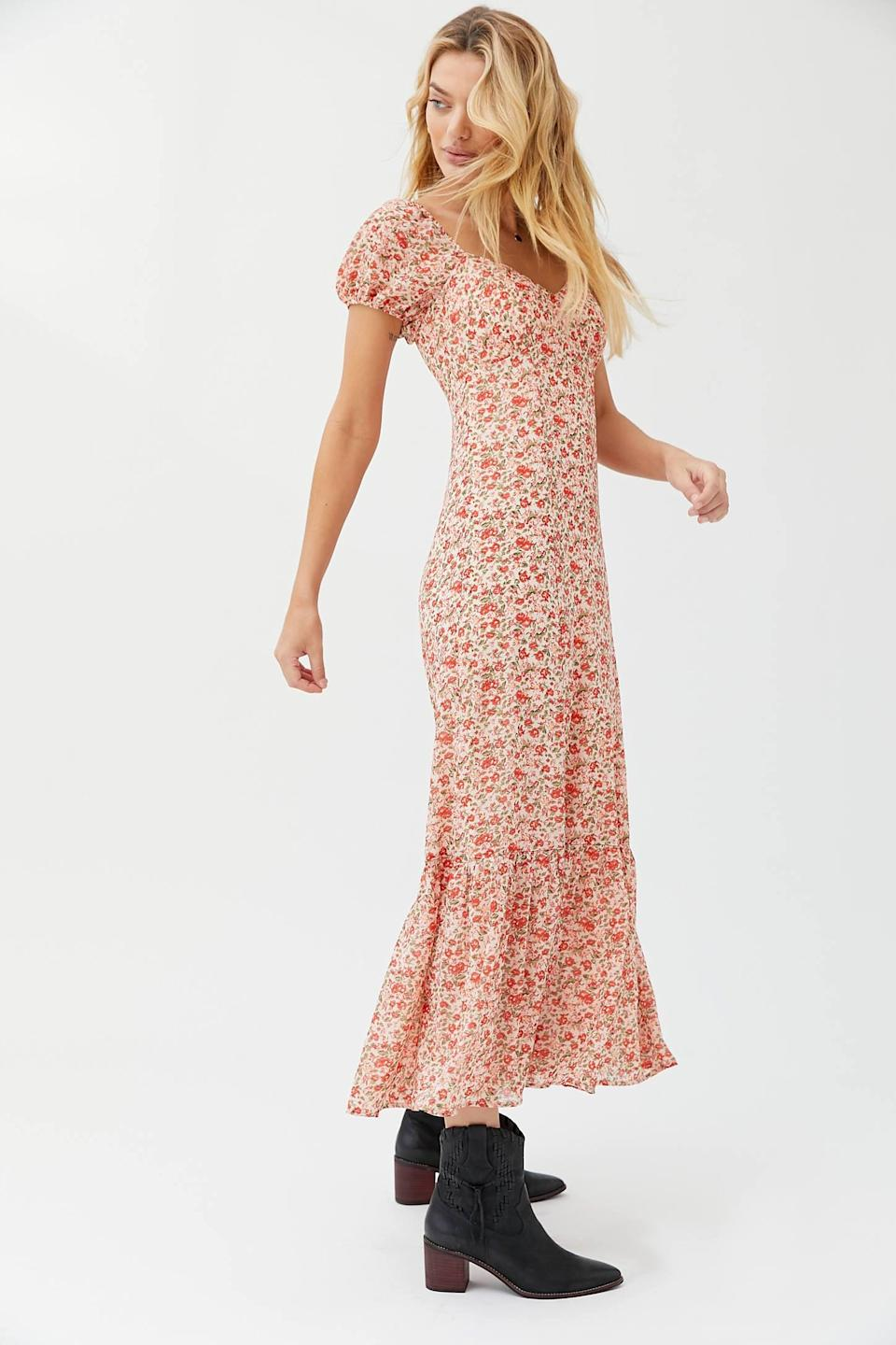 "<p>You could totally wear this <a href=""https://www.popsugar.com/buy/UO-Floral-Puff-Sleeve-Maxi-Dress-547302?p_name=UO%20Floral%20Puff%20Sleeve%20Maxi%20Dress&retailer=urbanoutfitters.com&pid=547302&price=89&evar1=fab%3Aus&evar9=47237816&evar98=https%3A%2F%2Fwww.popsugar.com%2Fphoto-gallery%2F47237816%2Fimage%2F47237894%2FUO-Floral-Puff-Sleeve-Maxi-Dress&list1=shopping%2Cdresses%2Cspring%20fashion&prop13=api&pdata=1"" class=""link rapid-noclick-resp"" rel=""nofollow noopener"" target=""_blank"" data-ylk=""slk:UO Floral Puff Sleeve Maxi Dress"">UO Floral Puff Sleeve Maxi Dress</a> ($89) to a <a class=""link rapid-noclick-resp"" href=""https://www.popsugar.com/Wedding"" rel=""nofollow noopener"" target=""_blank"" data-ylk=""slk:wedding"">wedding</a>.</p>"