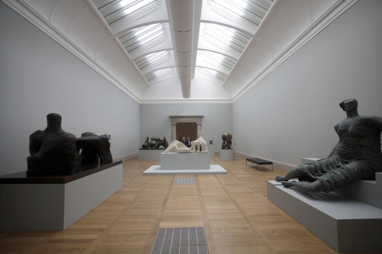 LONDON, UNITED KINGDOM - MAY 13: A general view of Henry Moore sculptures on display at the Walk through British Art  exhibition at Tate Britain on May 13, 2013 in London, England. Visitors will experience a completely new presentation of the world's greatest collection of British art, the national collection of British art will be displayed in a continuous and purely chronological display from the 1500s to the present day. (Photo by Warrick Page/Getty Images)