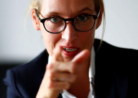 FILE PHOTO: Anti-immigration party Alternative fuer Deutschland (AfD) top candidate for the upcoming general election Alice Weidel gestures during an interview with Reuters in Berlin, Germany July 20, 2017.     REUTERS/Joachim Herrmann/File Photo