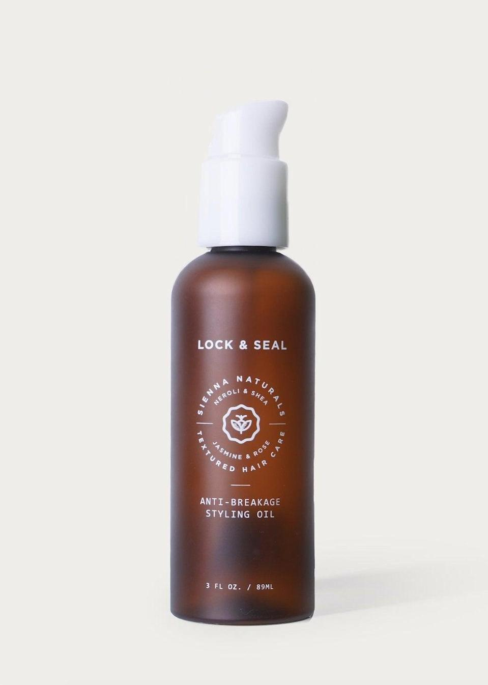"<h2>Sienna Naturals Lock and Seal Anti-Breakage Oil</h2><br>Many hair oils are like band-aids for curly hair, designed to sit on top and add shine to mask split ends and other damage. This one does the opposite. It has a potent blend of ingredients like baobab, castor, rose oils, and shea butter to <em>treat </em>natural hair by replacing lost lipids and retaining moisture while adding shine and definition to all curl types.<br><br><strong>Sienna Naturals</strong> Sienna Naturals Lock and Seal Anti-Breakage Oil, $, available at <a href=""https://go.skimresources.com/?id=30283X879131&url=https%3A%2F%2Fwww.target.com%2Fp%2Fsienna-naturals-lock-and-seal-anti-breakage-oil-for-curls-3-fl-oz%2F-%2FA-80332895%23lnk%3Dsametab"" rel=""nofollow noopener"" target=""_blank"" data-ylk=""slk:Target"" class=""link rapid-noclick-resp"">Target</a>"