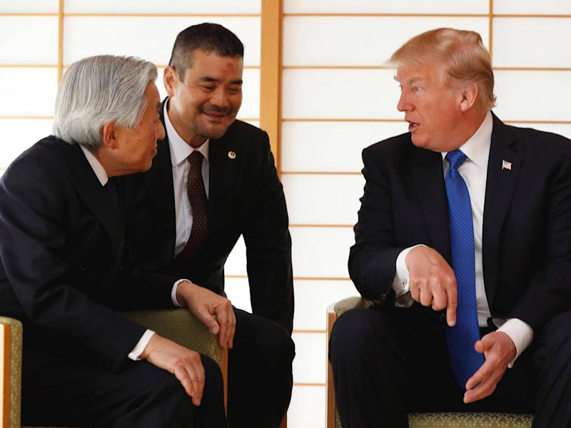 President Donald Trump talks with Japan's Emperor Akihito during their meeting at the Imperial Palace in Tokyo: Reuters