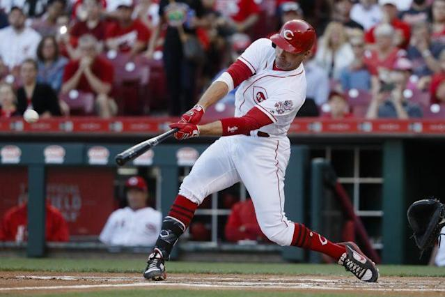 Joey Votto's free-swinging ways are leading the Reds to victory. (AP)