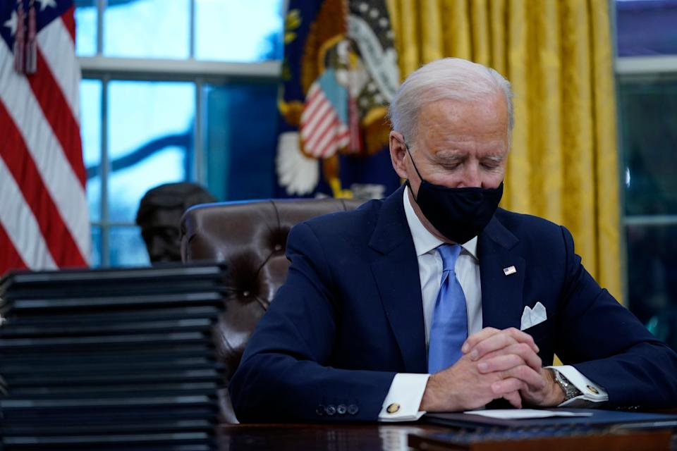 <p>Signing a series of orders on his first day at Oval office, President Biden also passed an order to LGBTQ+ people from discrimination</p> (Copyright 2021 The Associated Press. All rights reserved)
