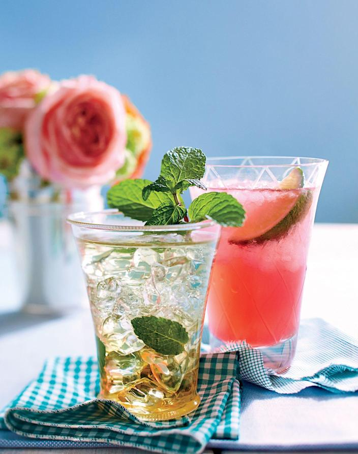 """<p><strong>Recipe: <a href=""""https://www.southernliving.com/syndication/sl-mint-julep"""" rel=""""nofollow noopener"""" target=""""_blank"""" data-ylk=""""slk:The SL Mint Julep"""" class=""""link rapid-noclick-resp"""">The SL Mint Julep</a></strong></p> <p>Our take on the classic Kentucky Derby drink that's worth enjoying year-round. </p>"""