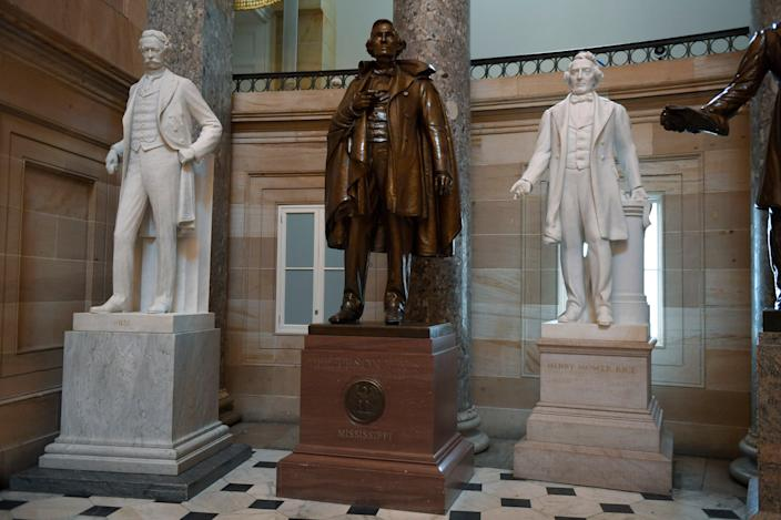 A statue of Confederate president Jefferson Davis in the US Capitol's Statuary Hall could be removed under a proposal to remove monuments to Confederate figures. (AP)