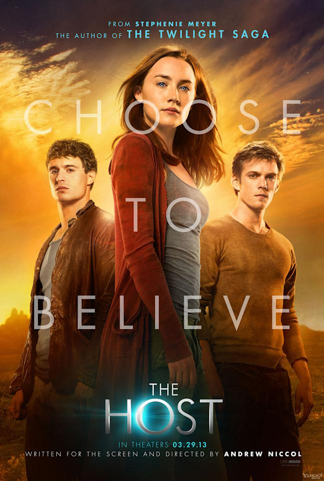 "Max Irons is Jared Howe, Saoirse Ronan is Melanie Stryder, and Jake Abel is Ian O'Shea and in Open Road Films' ""The Host"" - 2013<br> <a href=""http://l.yimg.com/os/251/2013/01/04/HOST-banner-panel-B1-02-jpg_163055.jpg"" target=""_blank"">View full size >></a>"
