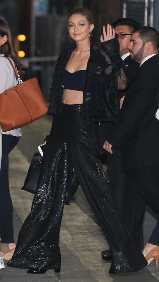 "<p>Gigi Hadid hit up ""Jimmy Kimmel Live!"" in an all black ensemble, which included a bra top that fit the bill. (Photo: Splash News) </p>"