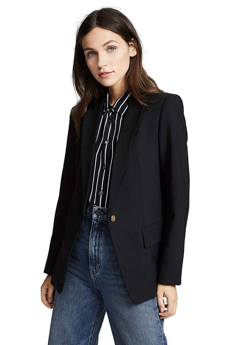 """<p><strong>Club Monaco </strong></p><p>amazon.com</p><p><strong>$298.00</strong></p><p><a href=""""https://www.amazon.com/dp/B084H5D2DP?tag=syn-yahoo-20&ascsubtag=%5Bartid%7C10056.g.37777656%5Bsrc%7Cyahoo-us"""" rel=""""nofollow noopener"""" target=""""_blank"""" data-ylk=""""slk:Shop Now"""" class=""""link rapid-noclick-resp"""">Shop Now</a></p><p>Club Monaco is known for offering elevated basics that can be styled to your liking— and its Borrem blazer is no exception. The slightly nipped silhouette is boardroom-ready, while the lone button keeps this option from feeling stuffy. </p>"""