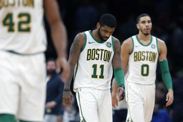 The Boston Celtics are in search of an identity after finding one without Kyrie Irving last season. (AP)