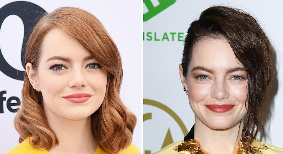 <p>Emma Stone dyed her trademark ginger locks an auburn shade. The 'La La Land' actress debuted her new look at the 30th Annual Producers Guild Awards in Beverly Hills. <em>[Photo: Getty]</em> </p>