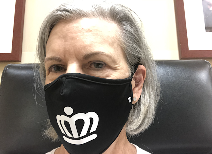 Reader Barbara Williamson sent us a selfie showing off her face mask from 704 Shop.