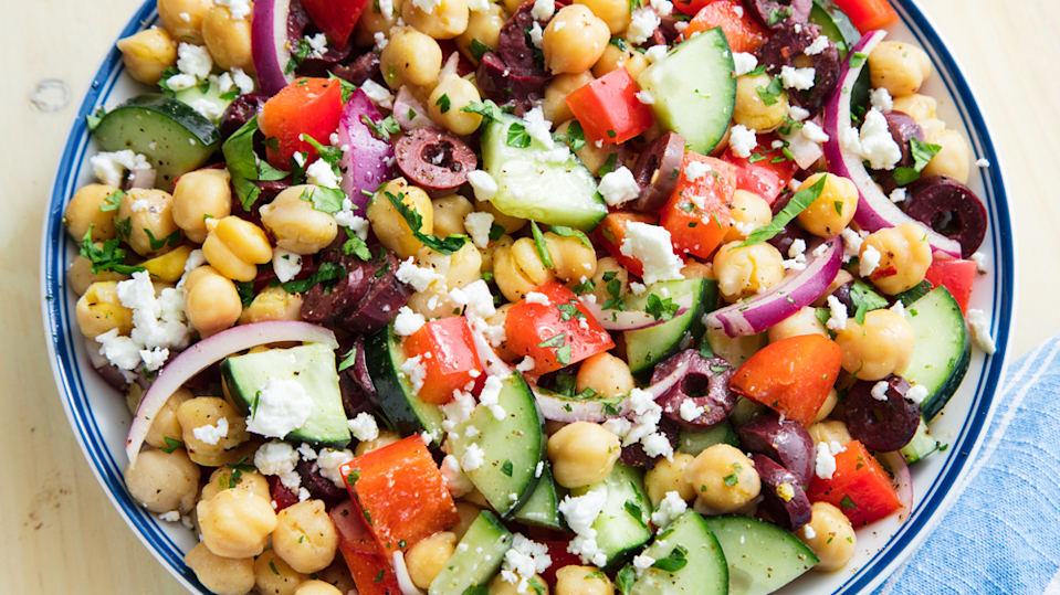 """<p>Light and filling at the same time, this salad has it all.</p><p>Get the recipe from <a href=""""https://www.delish.com/cooking/recipe-ideas/a19885314/mediterranean-chickpea-salad-recipe/"""" rel=""""nofollow noopener"""" target=""""_blank"""" data-ylk=""""slk:Delish"""" class=""""link rapid-noclick-resp"""">Delish</a>.</p>"""