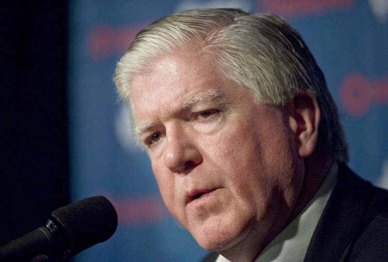 FILE - This March 3, 2012 file photo shows Toronto Maple Leafs' general manager Brian Burke during a news conference in Montreal. The Maple Leafs have fired Burke, with the NHL season set to resume this month following a tentative settlement ending the lockout. The Maple Leafs have not made the playoffs since Burke took the job in 2008. (AP Photo/The Canadian Press, Graham Hughes, File)