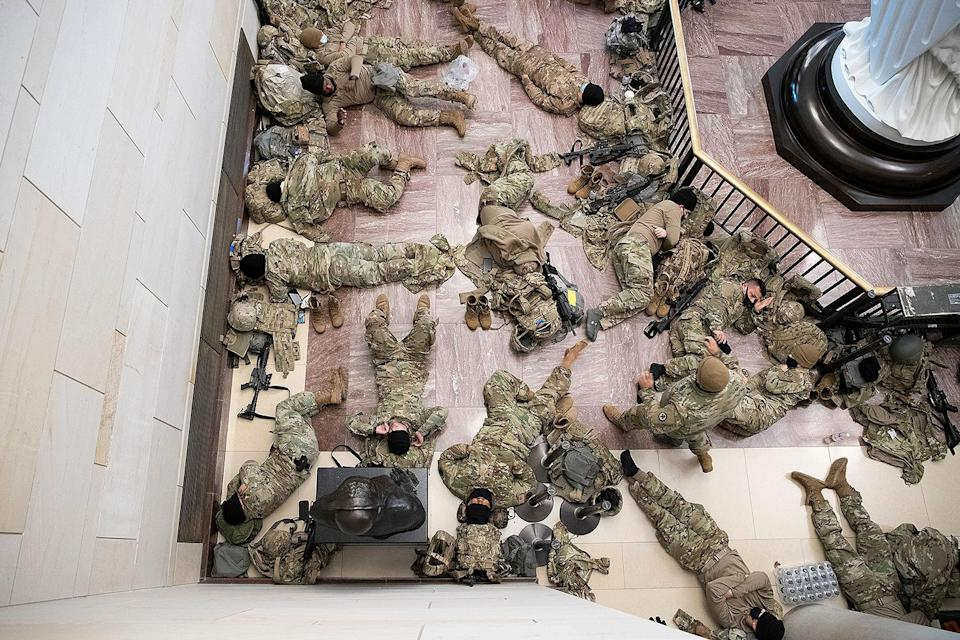 <p>One group rests in the Capitol while another keeps watch, as is military protocol. </p>
