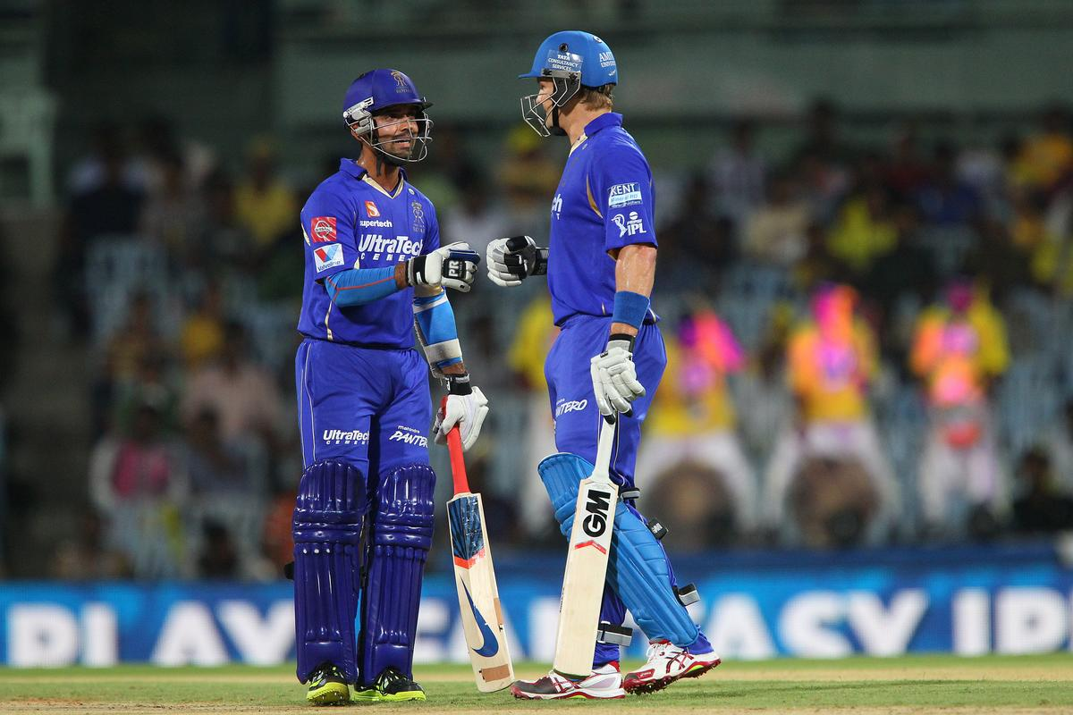 Ajinkya Rahane and Shane Watson during match 30 of the Pepsi Indian Premier League between The Chennai Superkings and the Rajasthan Royals held at the MA Chidambaram Stadiumin Chennai on the 22nd April 2013..Photo by Ron Gaunt-IPL-SPORTZPICS   .. .Use of this image is subject to the terms and conditions as outlined by the BCCI. These terms can be found by following this link:..https://ec.yimg.com/ec?url=http%3a%2f%2fwww.sportzpics.co.za%2fimage%2fI0000SoRagM2cIEc&t=1506417782&sig=NPSkvtakI_0gg4b0UPoYRQ--~D