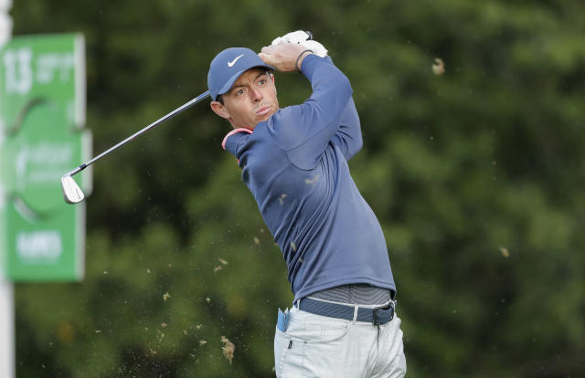 Rory McIlroy tees off on the 13th hole during the first round of the Valspar Championship golf tournament Thursday, March 8, 2018, in Palm Harbor, Fla. (AP Photo/Mike Carlson)