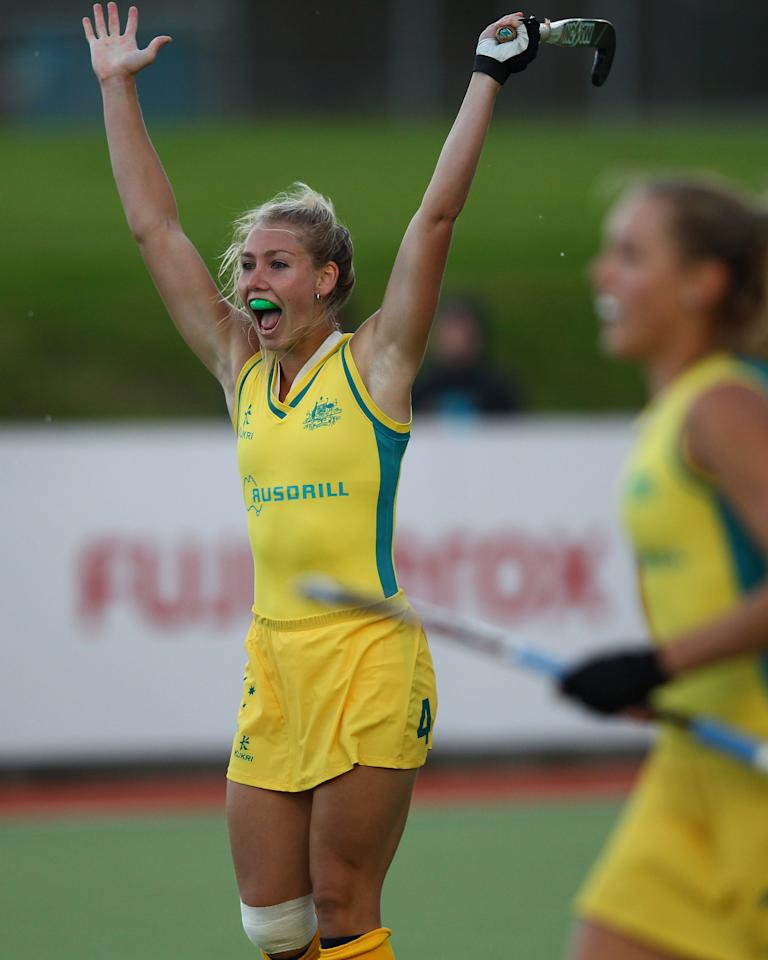 AUCKLAND, NEW ZEALAND - APRIL 12: Casey Eastham of Australia celebrates a goal during the Four Nations tournament between Australia and the United States of America at the North Harbour Hockey Stadium on April 12, 2012 in Auckland, New Zealand.  (Photo by Phil Walter/Getty Images)