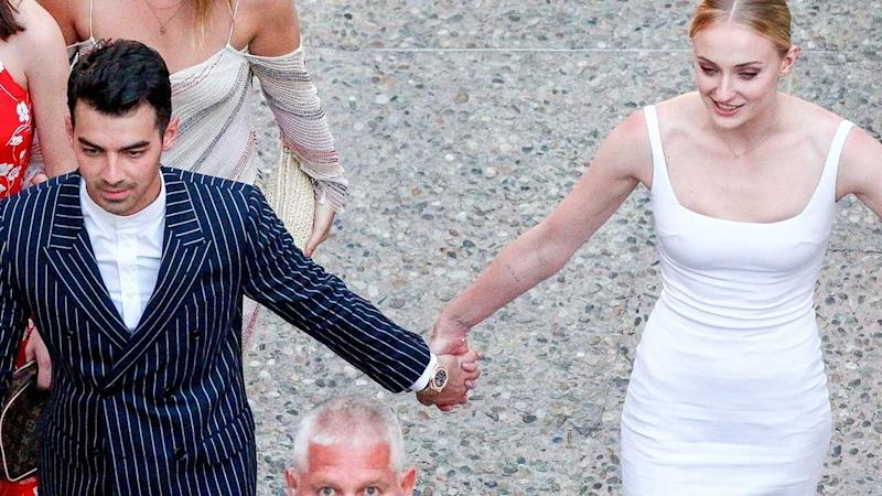 Sophie Turner Wedding.Sophie Turner Wears Stunning White Dress To Wedding Pre Party With
