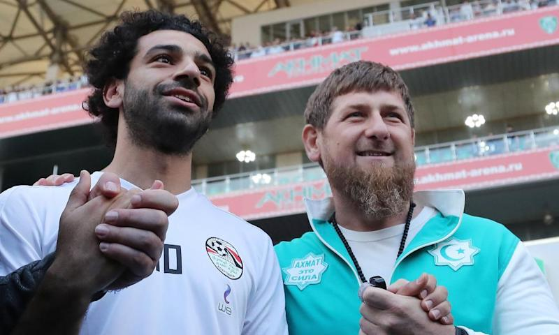 Bad company … Liverpool player Mohamed Salah with head of the Chechen Republic, Ramzan Kadyrov.