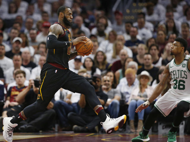 "Las Vegas has some historically high expectations for <a class=""link rapid-noclick-resp"" href=""/nba/players/3704/"" data-ylk=""slk:LeBron James"">LeBron James</a> in Game 7. (AP Photo/Ron Schwane)"