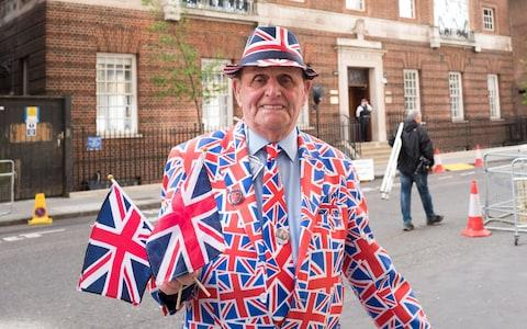 Royalist Terry Hut waits outside the Lindo Wing - Credit: Samir Hussein/WireImage