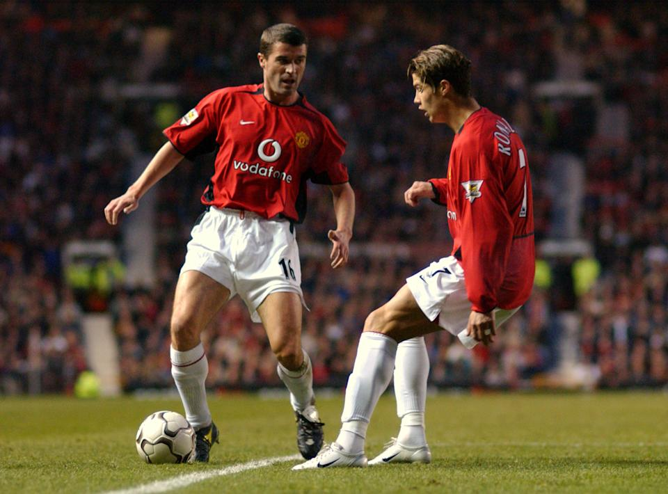 l-r; Manchester United's Roy Keane moves Cristiano Ronaldo out of the way (Photo by Neal Simpson/EMPICS via Getty Images)