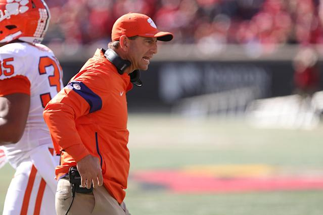 "<a class=""link rapid-noclick-resp"" href=""/ncaaf/teams/clemson/"" data-ylk=""slk:Clemson Tigers"">Clemson Tigers</a> head coach Dabo Swinney sent Andrew Booth off the field after the freshman threw a punch. (Photo by Ian Johnson/Icon Sportswire via Getty Images)"