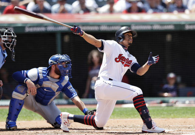 Cleveland Indians' Francisco Lindor watches his ball after hitting a two-run home run in the third inning of a baseball game against the Kansas City Royals, Sunday, July 21, 2019, in Cleveland. Royals catcher Cam Gallagher watches. (AP Photo/Tony Dejak)