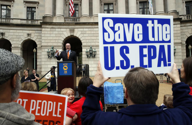 Rep. Dan Kildee, D-Mich., speaks about EPA Administrator Scott Pruitt and the state of the EPA during a protest by the American Federation of Government Employees on April 25, 2018, in Washington. (Photo: Alex Brandon/AP)