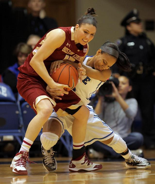 Duke's Chloe Wells, right, fights for a loose ball with Boston College's Lauren Engeln during the first half of an NCAA college basketball game in Durham, N.C., Sunday, Jan. 12, 2014. (AP Photo/Ted Richardson)