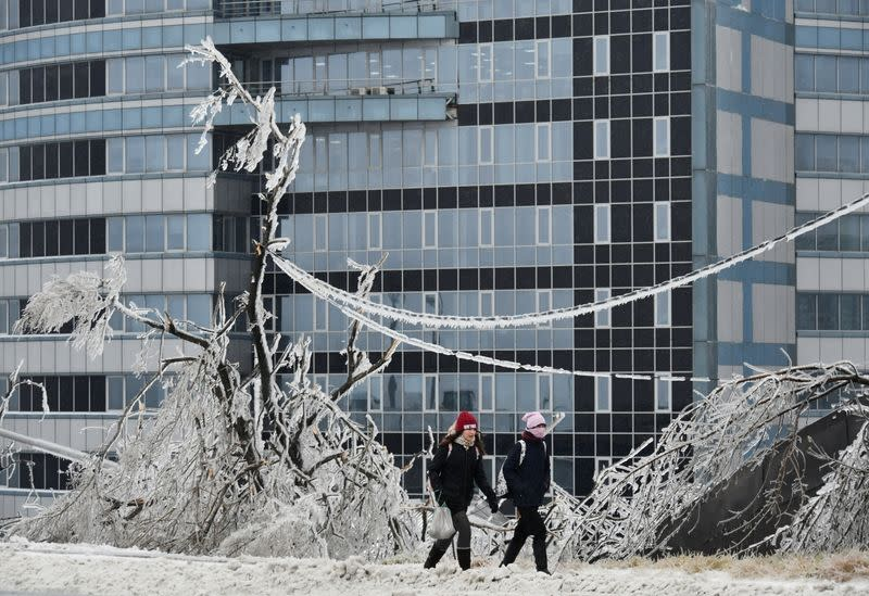 People walk past trees covered with ice after freezing rain in Vladivostok
