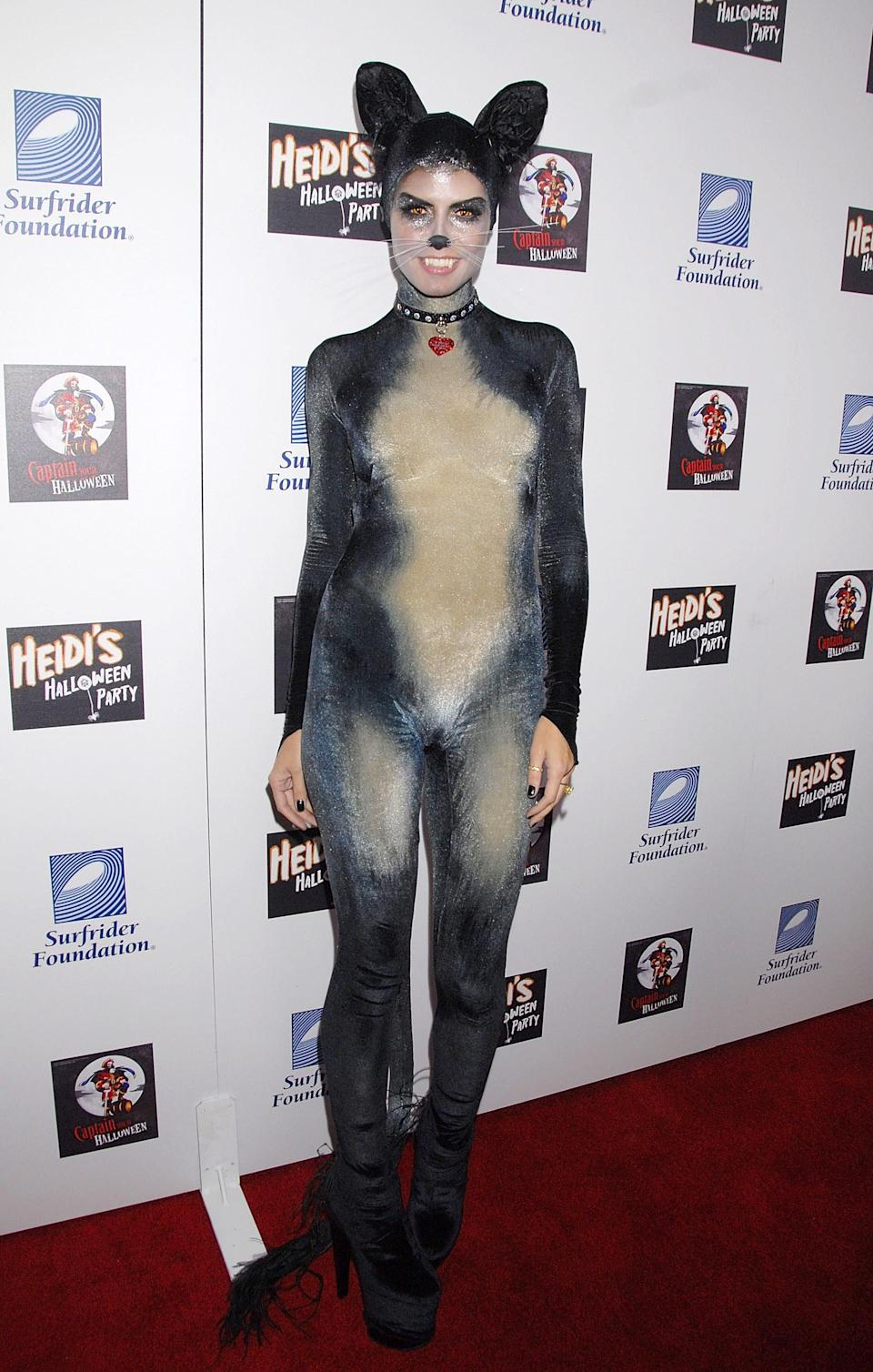 Heidi somehow managed to upgrade Halloween's generic catsuit look in 2007, with this velvet catsuit and on-point make-up. <em>[Photo: Getty]</em>